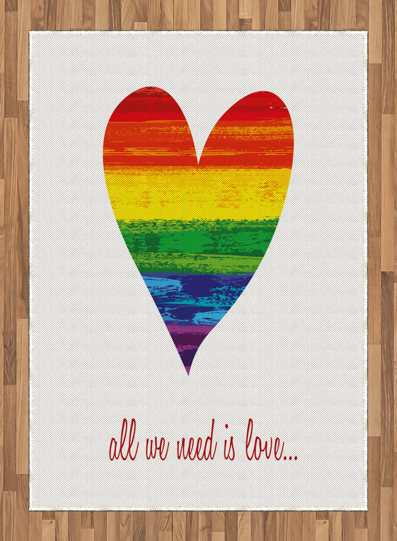 Pride Area Rug by Ambesonne, Romantic All We Need Is Love Famous Quote with Heart Shape in the Gay Parade Colors, Flat Woven Accent Rug for Living Room Bedroom Dining Room, 5.2 x 7.5 FT, Multicolor