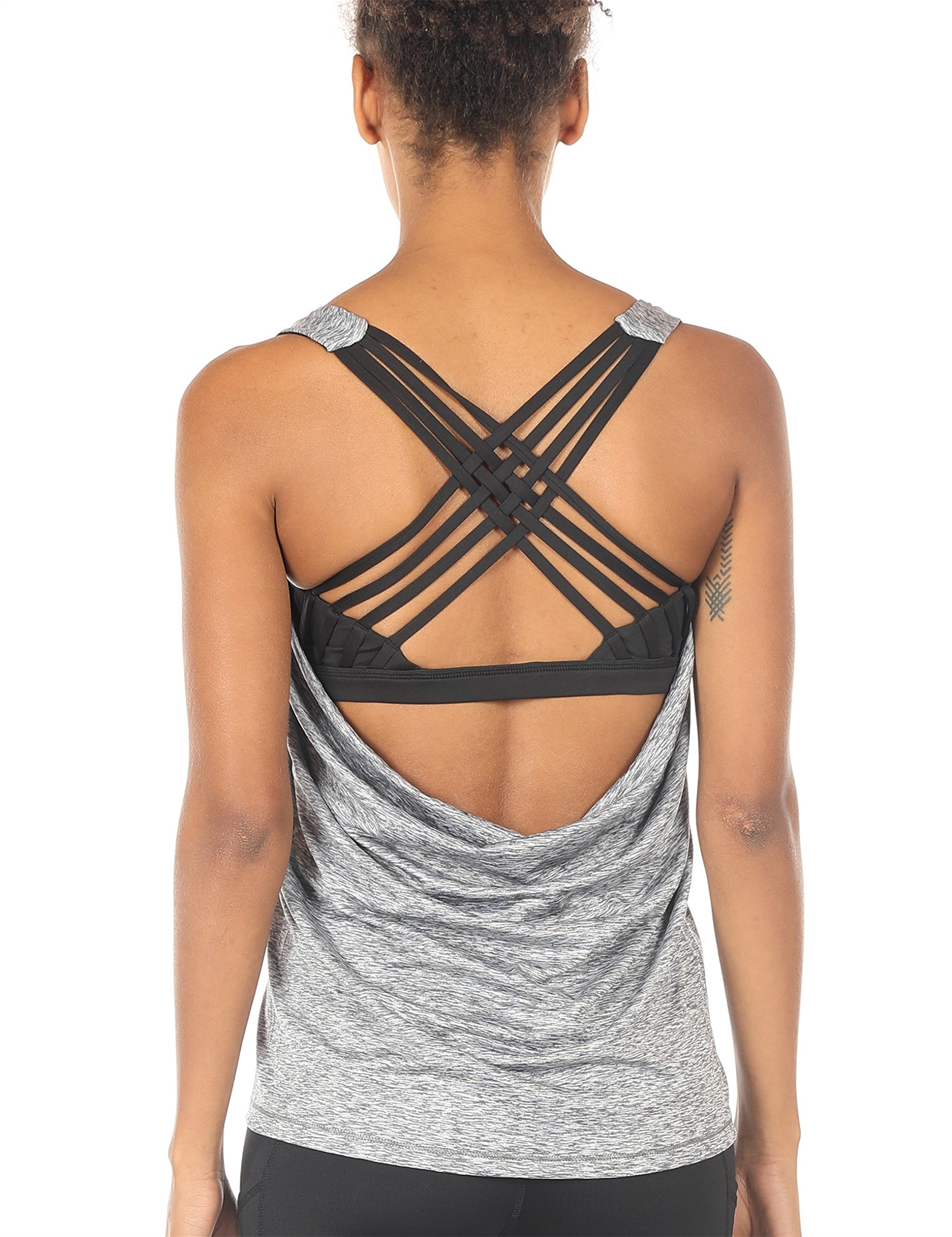 icyzone Yoga Tops Workouts Clothes Activewear Built in Bra Tank Tops for Women (L, Grey Melange) by icyzone (Image #1)