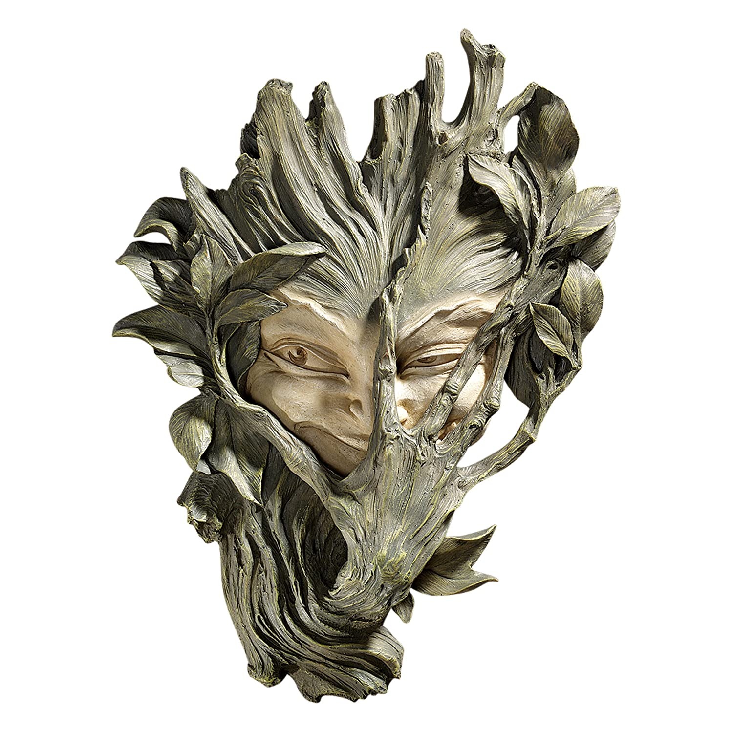 Design Toscano Bashful Wood Sprite Tree Face Mystic Decor Wall Sculpture, 13 Inch, Polyresin, Two Tone Stone
