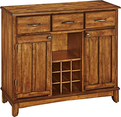 Buffet Of Buffets Cottage Oak With Wood Top By Home Styles Large Server With Cottage Oak Wood Top Buffets Sideboards Amazon Com