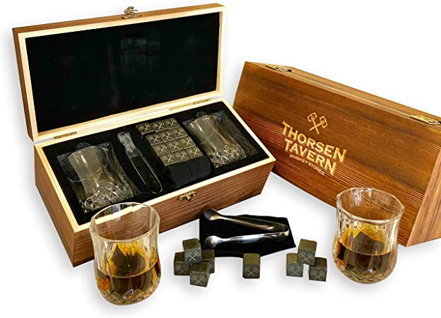 Whiskey Stones Gift Set by Thorsen Tavern – 12 Granite Chilling Stones, 2 Whiskey Glasses, Tongs Black Velvet Bag in Elegant Wooden Box Keep Your Whiskey, Bourbon and Scotch Chilled Flavorful
