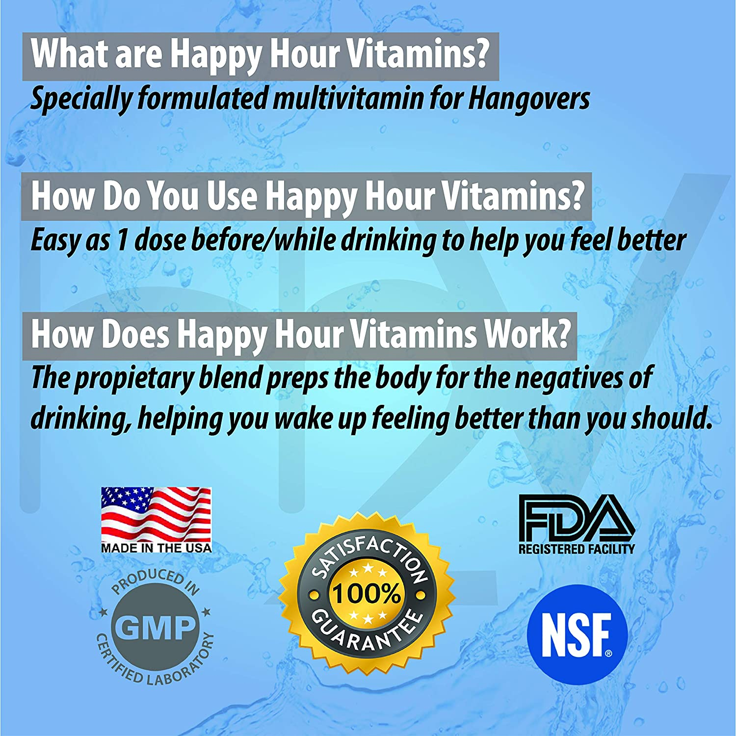 Happy Hour Vitamins Formulated for Hangovers & Liver Support - 20 Packs -  Multivitamin with