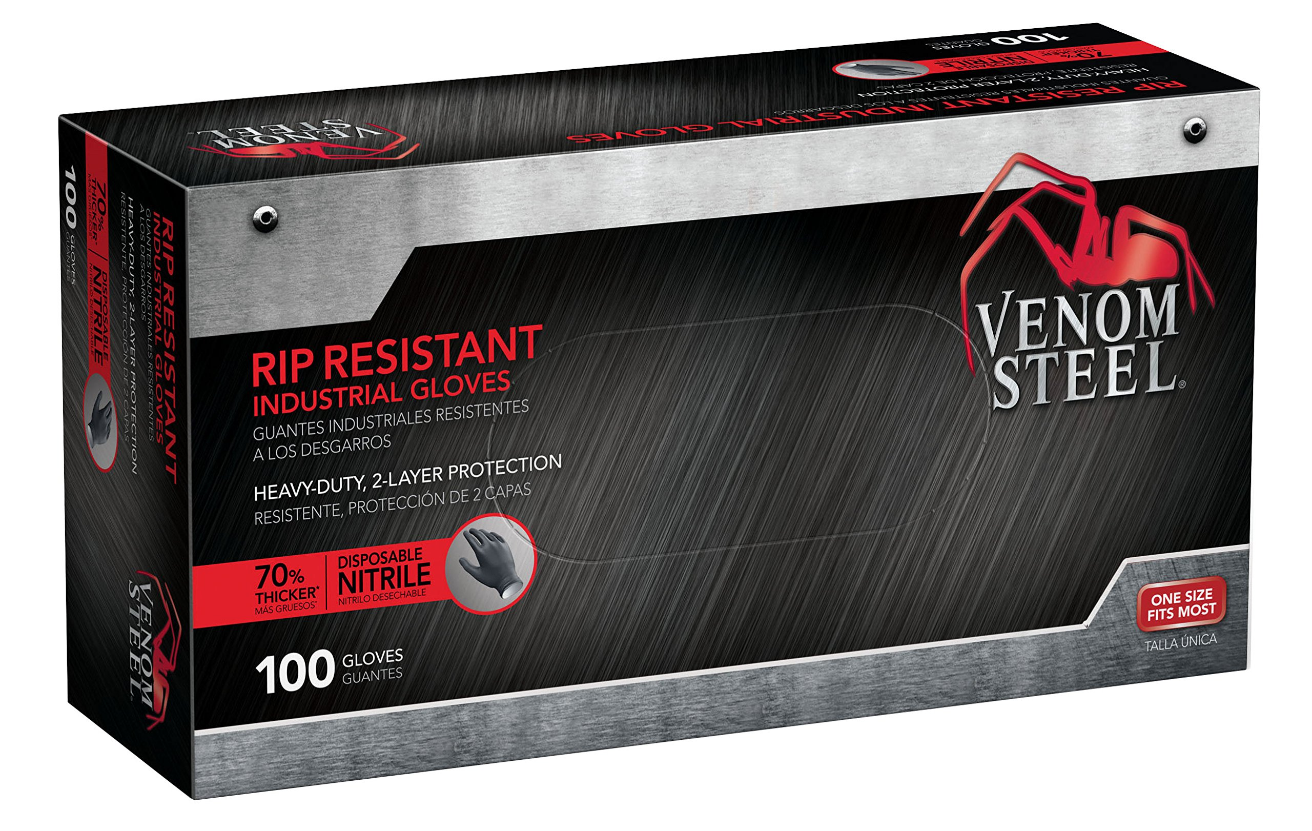 Venom Steel Rip Resistant Industrial Nitrile Gloves 2-Layer,Black White, Latex Rubber Free, Disposable, One Size Fits Most (Pack of 100)