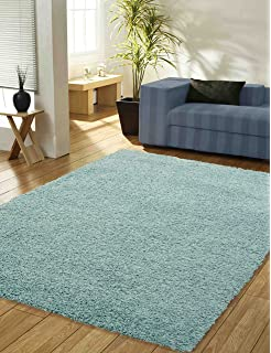 Large Plain Duck Egg X Blue Thick Pile Shaggy Rug Value 110 160