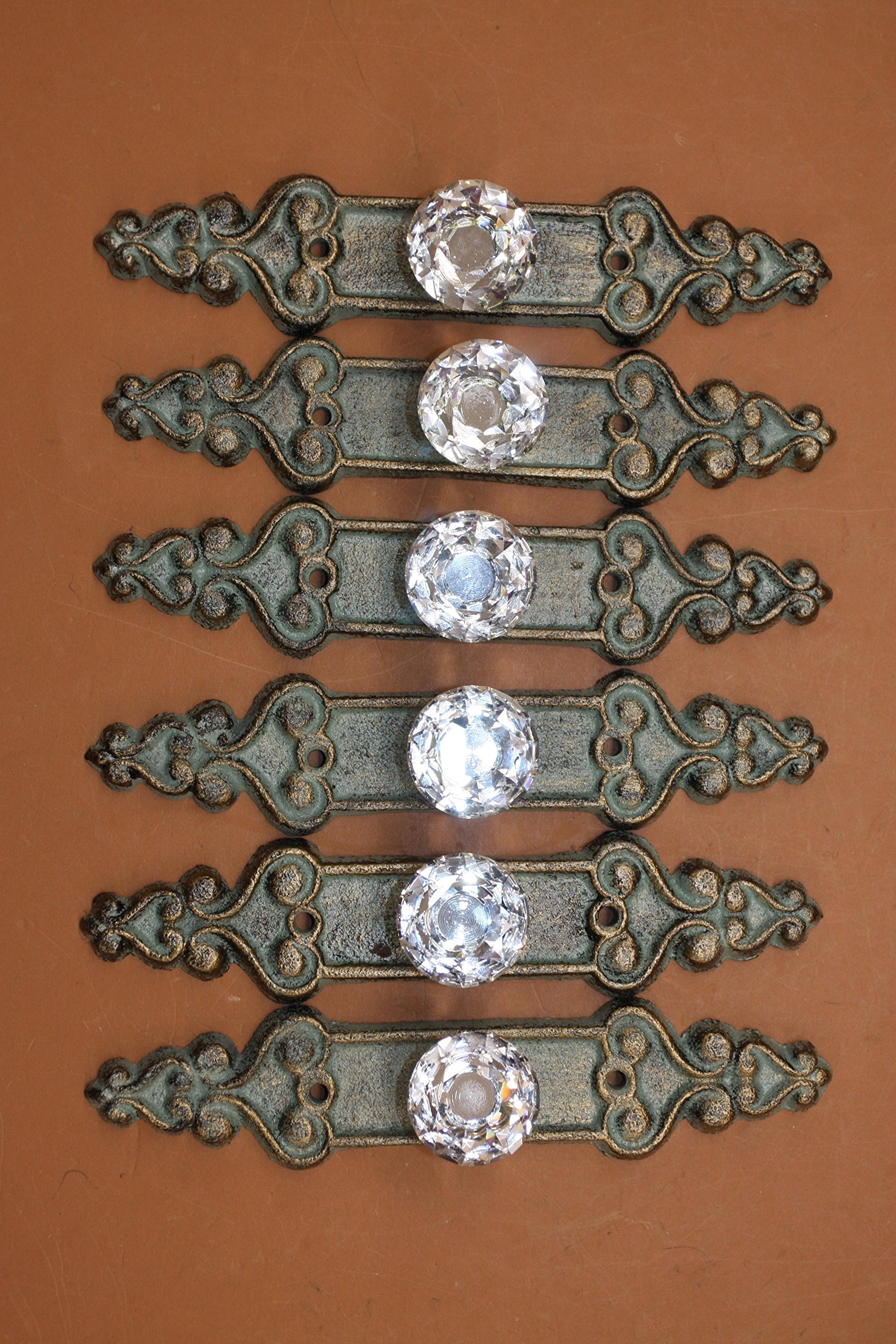 Elegant Crystal Drawer Pulls Cast Iron Bronze-look Backplate, 7 inch long, HW-25, Set of 6 by Cast Iron Decor (Image #1)