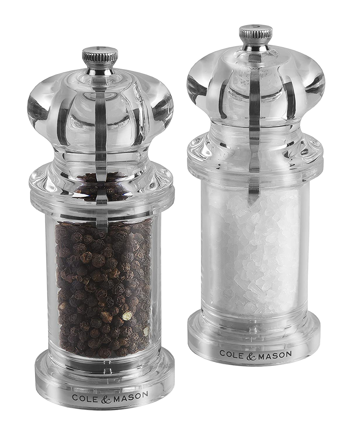 Cole & Mason Precision Grind 505 Salt and Pepper Mill Gift Set with Accessories Salt and Pepper Mill Tray, Salt and Pepper Refill Funnel, Herb and Spice Carousel and Granite Pestle and Mortar