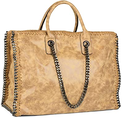 22dcc3f4f1d53 styleBREAKER Vintage Shopper Handtasche mit Kette in rockigem Style ...
