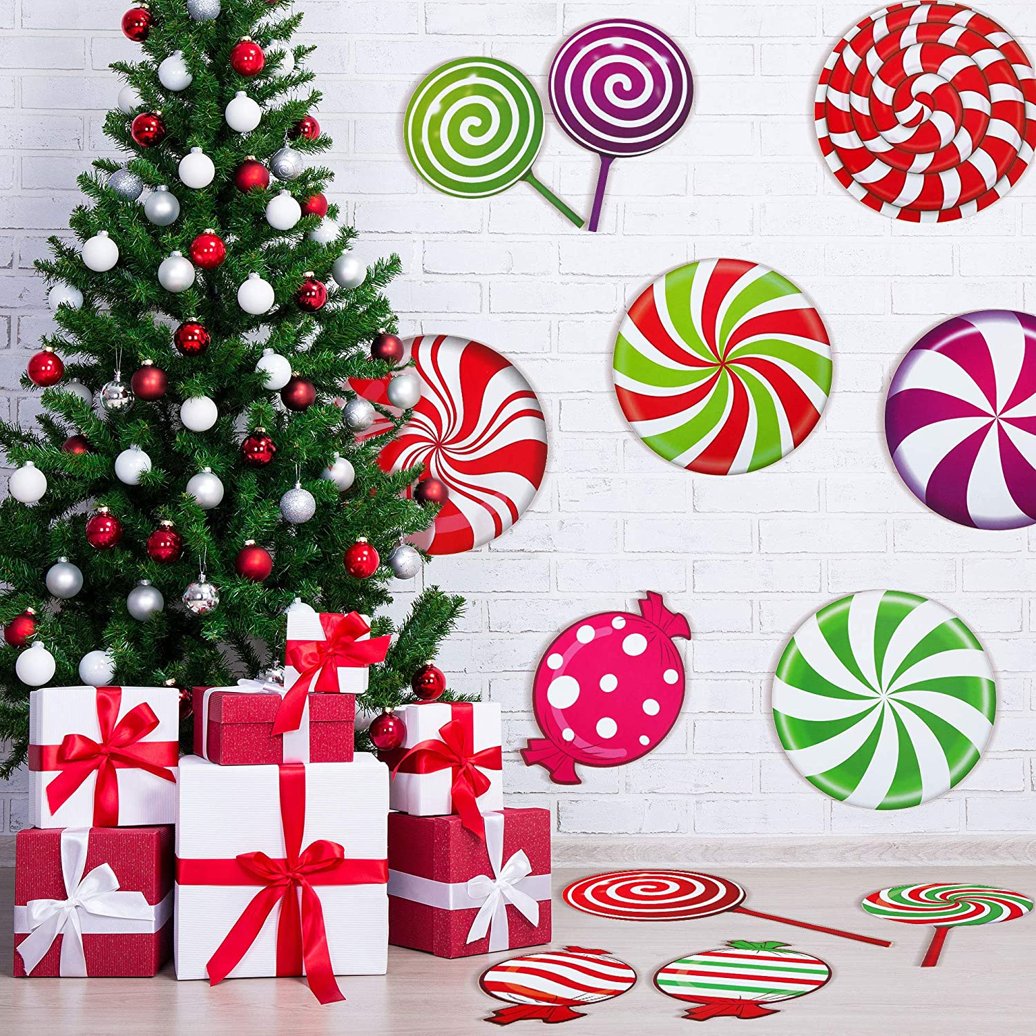 Outus 30 Pieces Peppermint Floor Decals Stickers Colorful Candies Round Lollipop Floor Decals Stickers for Christmas Decoration Candy Party, Wall Decals Stickers Xmas Candy Party Decor and Supplies