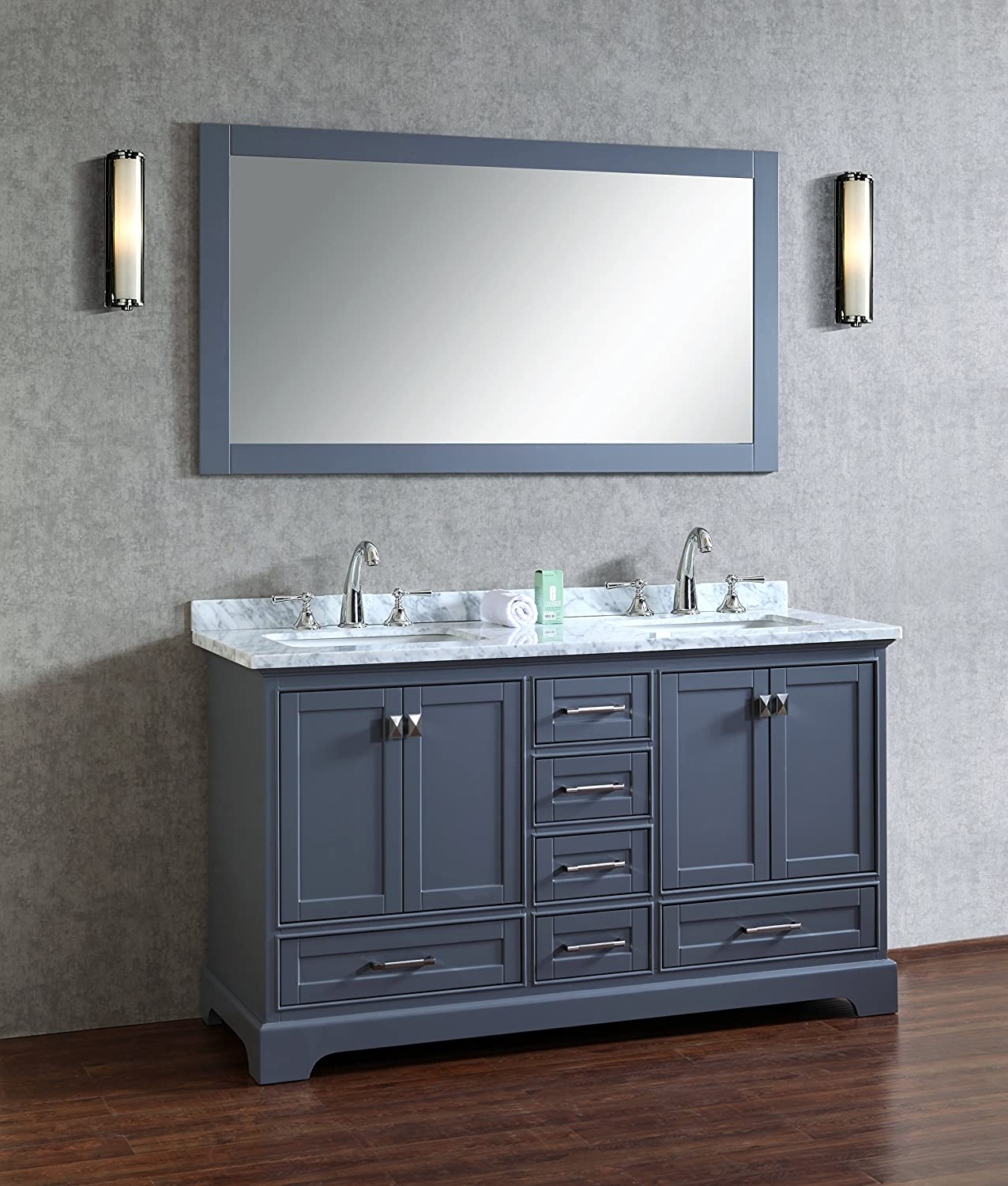 Stufurhome Chanel Grey 60 Inch Double Sink Bathroom Vanity With Mirror      Amazon.com