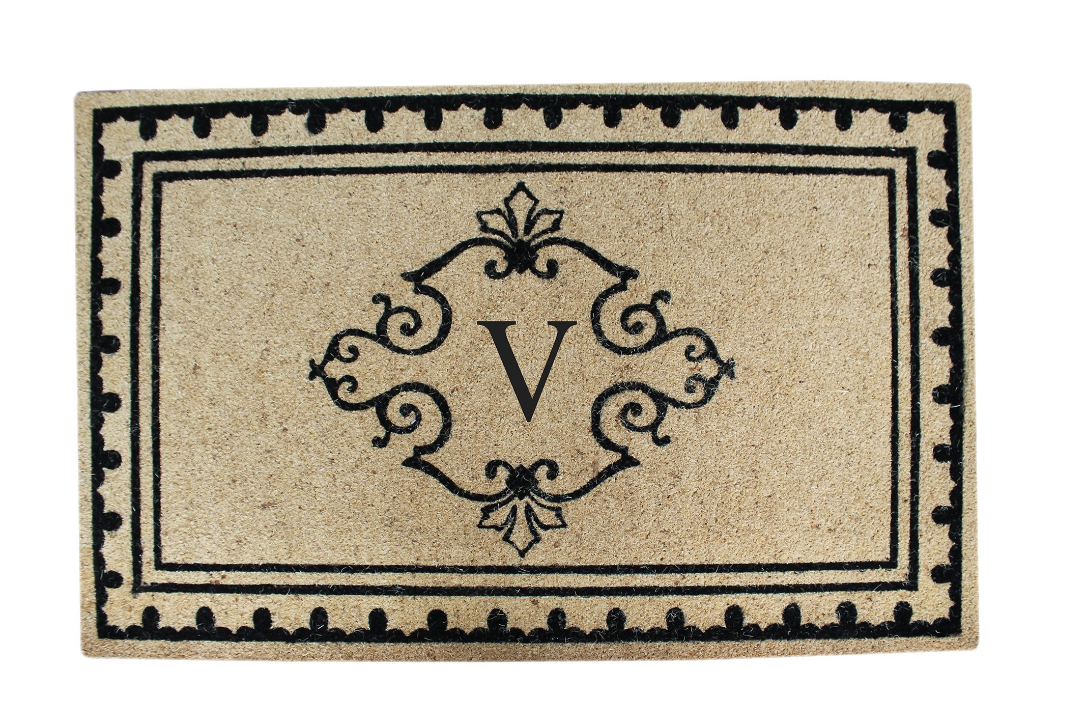 A1 Home Collections PT4008-VA1HC First Impression Artistic Border Entry Monogrammed Double Doormat, 30'' x 48'', Beige/Black