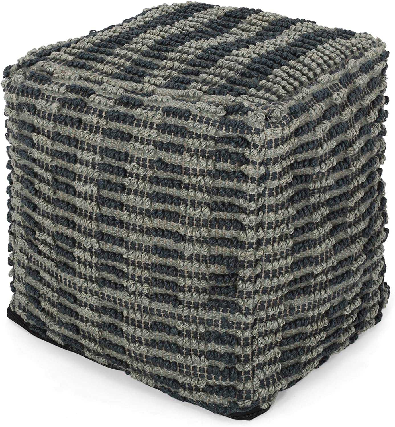 Christopher Knight Home 299652 Harlow Hand Woven Denim Fabric Pouf
