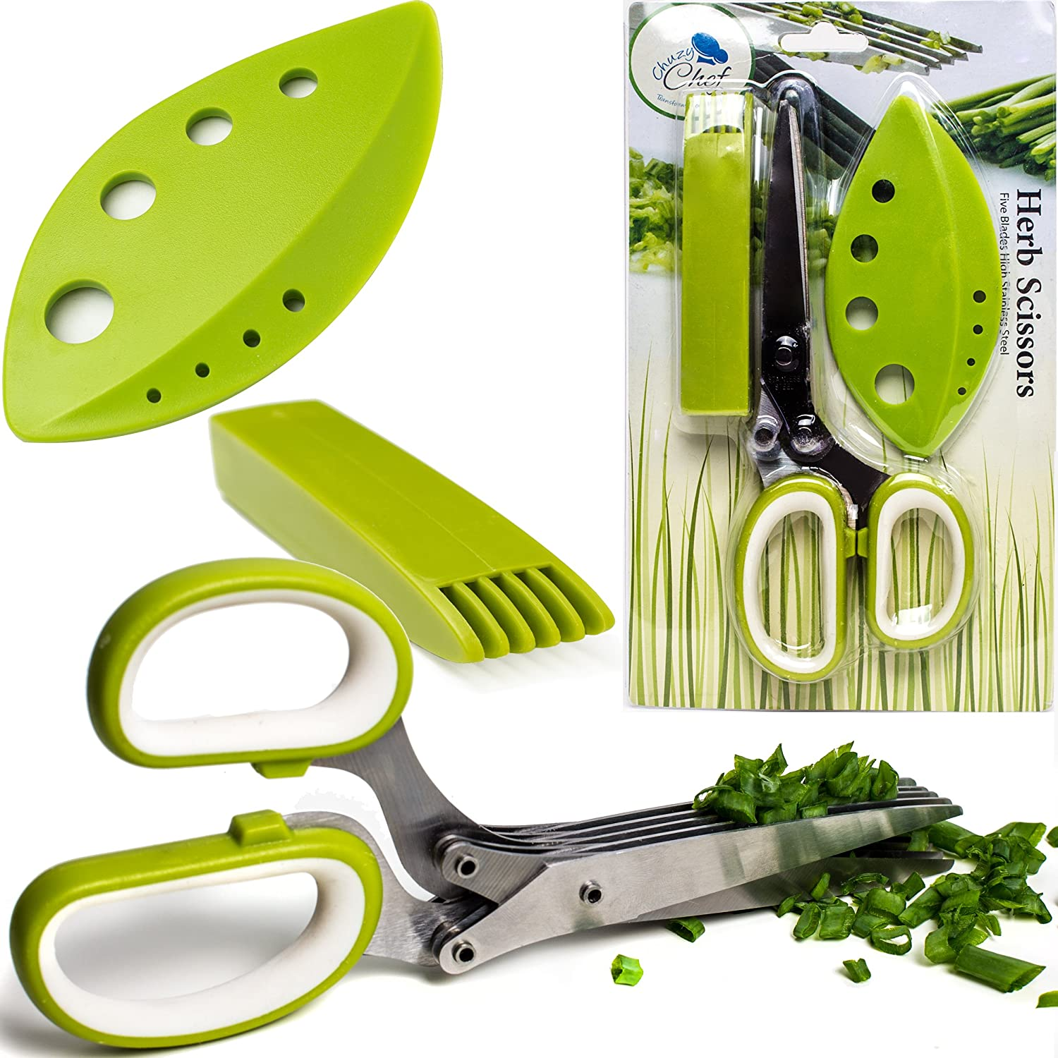 Chuzy Chef Herb Scissors Multipurpose Kitchen Shears Stainless Steel 5 Blade With Cleaning Brush Green SYNCHKG076620