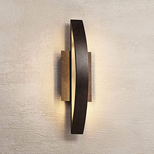 Modern Outdoor Wall Light Fixture LED Coppered Bronze 20 1/2″ Arching Steel Frame