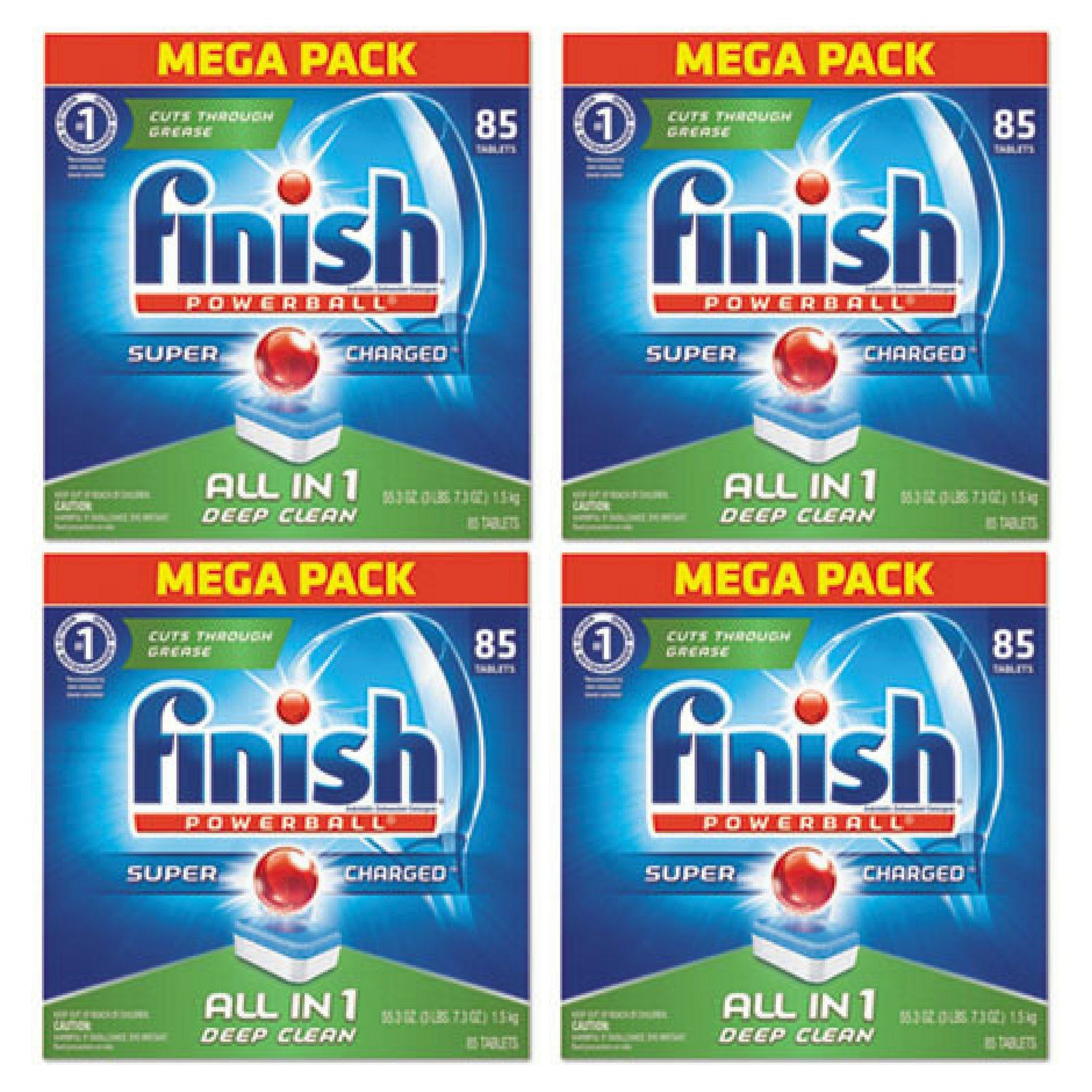 Finish All In 1 Powerball Dishwasher Detergent Tablets, Fresh, 85 Count - Pack of 4 by by Finish