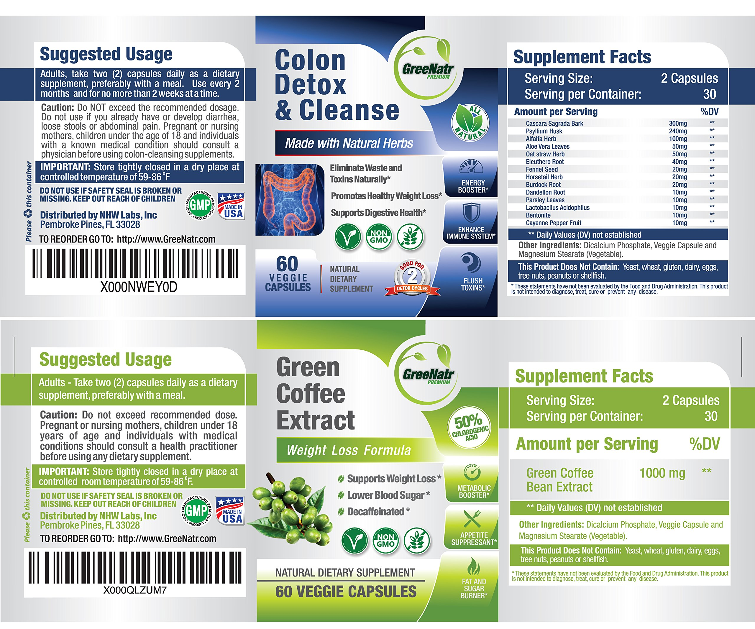 Pure Green Coffee Bean Extract + Colon Cleanse Detox Diet - Weight Loss and Detox Bundle - 480 Veggie Capsules - Gluten Free - Non GMO (6 Months Supply) by GreeNatr (Image #3)