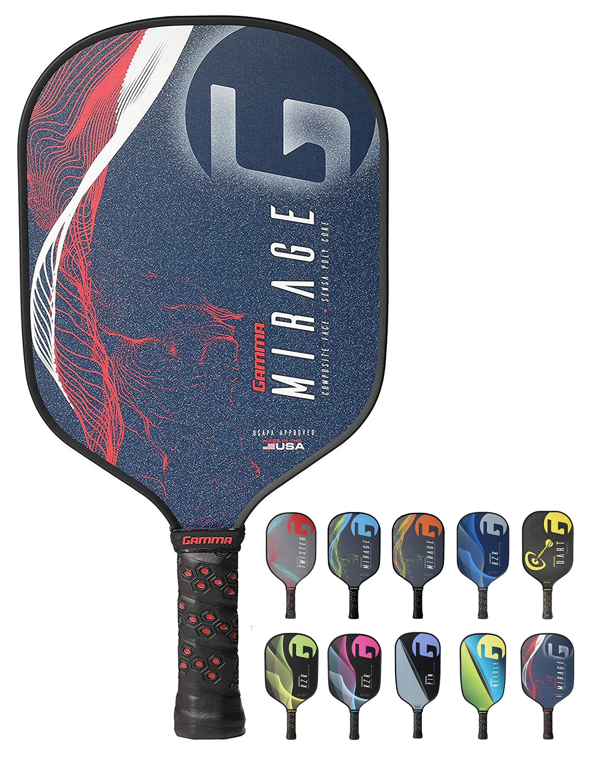GAMMA Mirage Composite Pickleball Paddle: Pickle Ball Paddles for Indoor & Outdoor Play - USAPA Approved Racquet for Adults & Kids - Red/White/Blue by Gamma (Image #1)