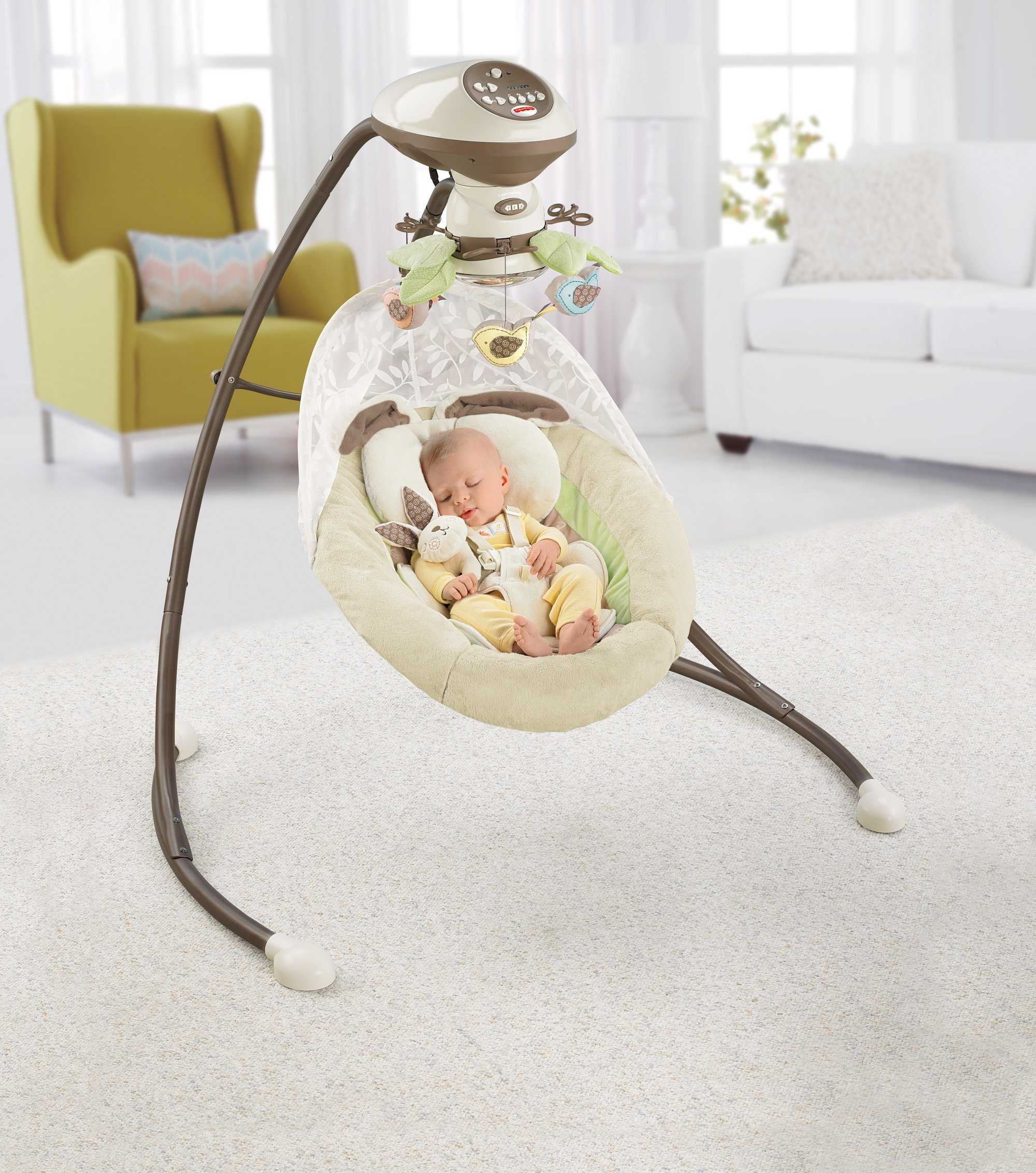 Fisher-Price Snugabunny Cradle 'n Swing with Smart Swing Technology by Fisher-Price (Image #2)