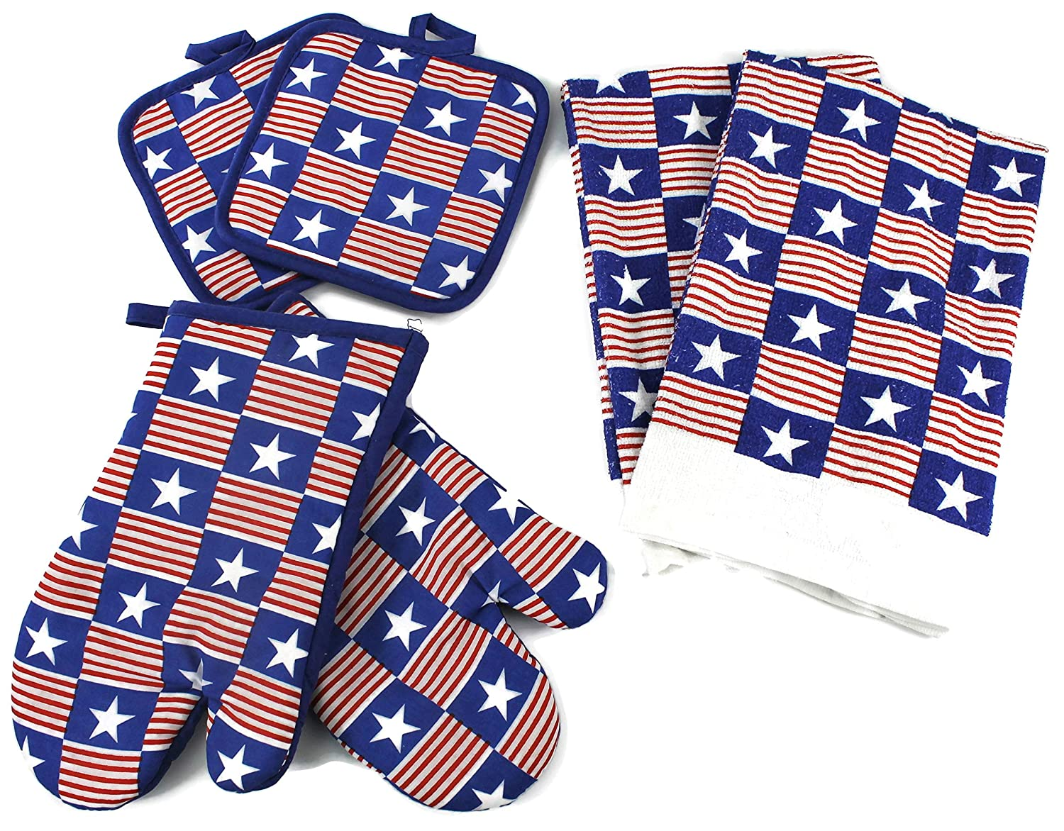 High End Home Independence Day Collection 6 Piece Kitchen Decor Linen Set, Includes 1 Year Warranty, 2 Tea Towels, 2 Oven Mitts and 2 Pot Holders, Stars and Stripes Red White Blue