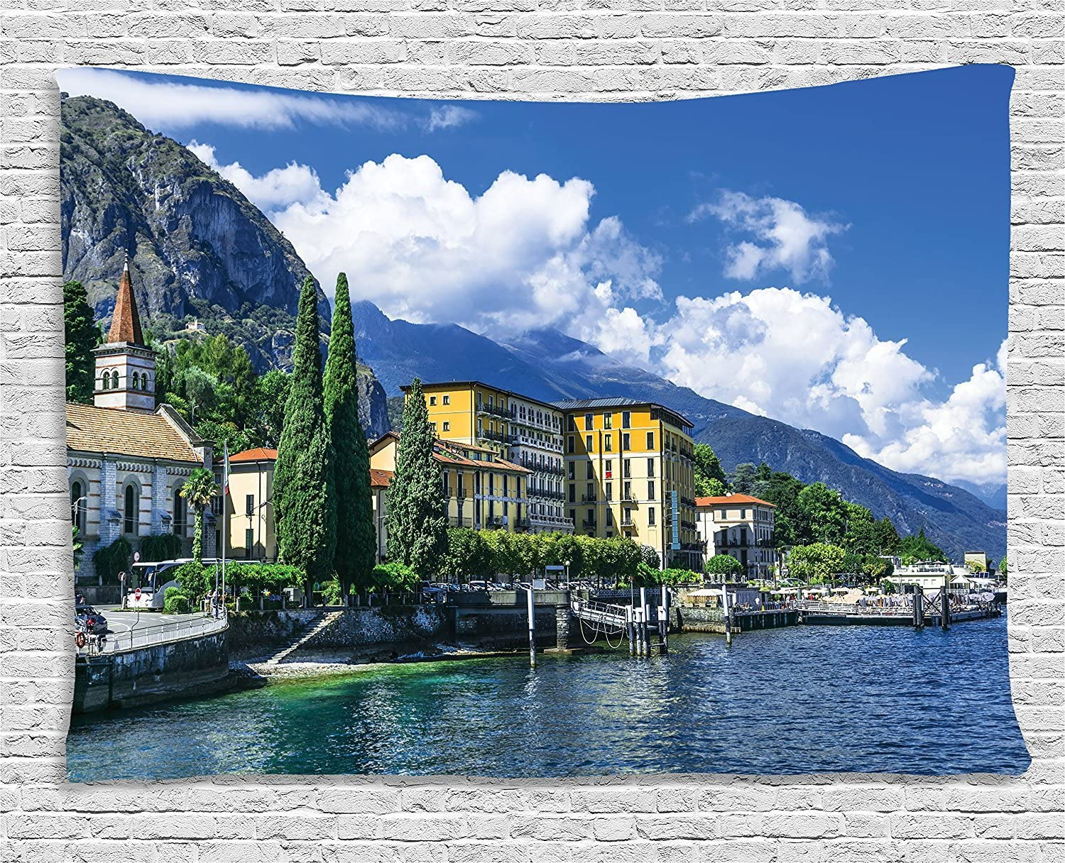 Ambesonne Italy Decor Tapestry, The Panoramic Landscape of Lake Como Mountains and Clouds Digital Image, Wall Hanging for Bedroom Living Room Dorm, 80