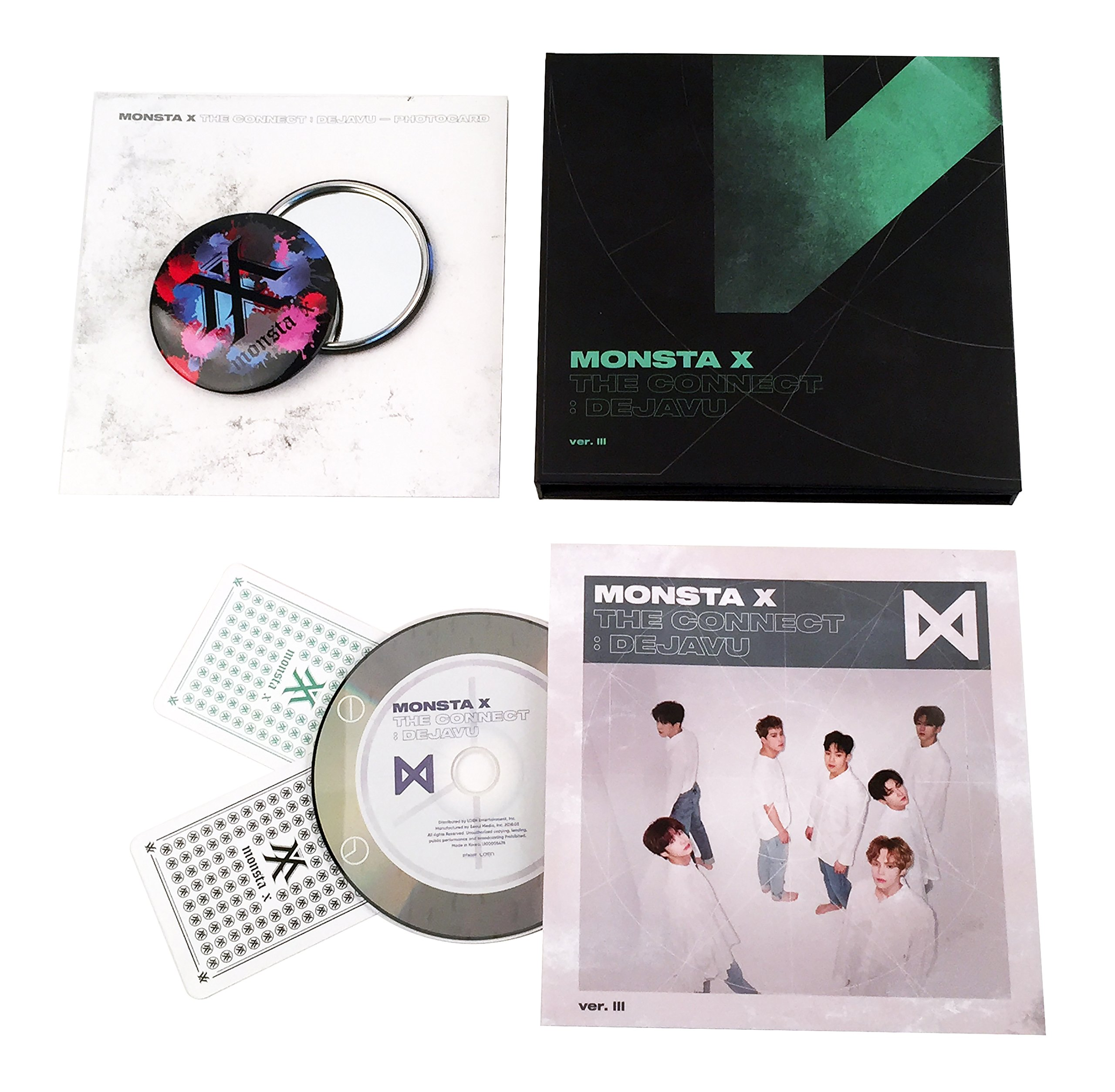 THE CONNECT : DEJAVU [ Ver. III ] - MONSTA X Album CD + Booklet + 2 Photocards + FREE GIFT / K-POP Sealed by Loen