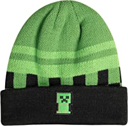 ed37d175c00 JINX Minecraft Creeper Sprite Fold Beanie (Green Black