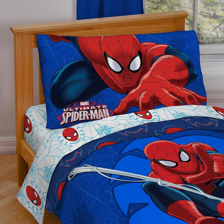 Spiderman bed set - Amazon Com Marvel Spiderman Regulator Toddler 4 Piece Bed Set Home Kitchen