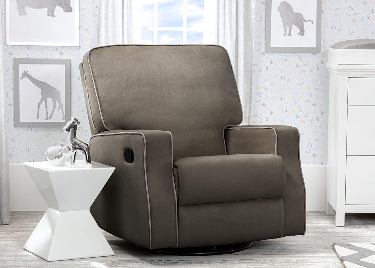 Delta Children Caleb Nursery Recliner Glider Swivel Chair, Graphite Dove Grey Welt