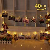 Elinker LEDストリングライト40写真クリップDIY 壁飾りイルミネーションライト クリスマス/新年/結婚式/誕生日/パーティー飾り8点灯モード(5Mインテリア ウォームホワイト)ギフト/プレゼント/お祝い/お礼などに最適