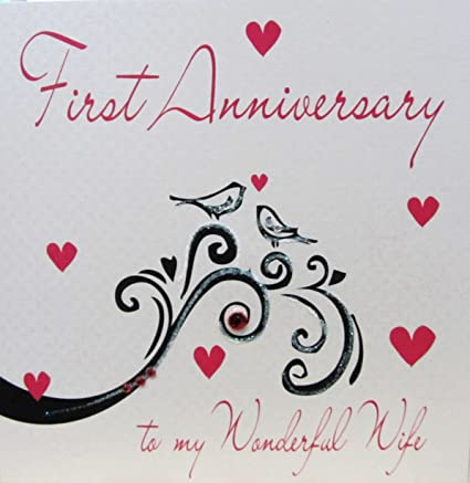 1 Anniversario Matrimonio.Amazon Com White Cotton Cards Handmade First Anniversary To My