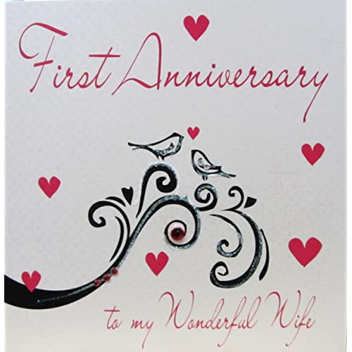 First wedding anniversary cards amazon white cotton cards handmade first anniversary to my wonderful wife card white m4hsunfo