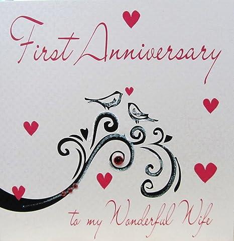 Auguri 1 Anniversario Di Matrimonio.White Cotton Cards Biglietto Di Auguri Realizzato A Mano Per Il