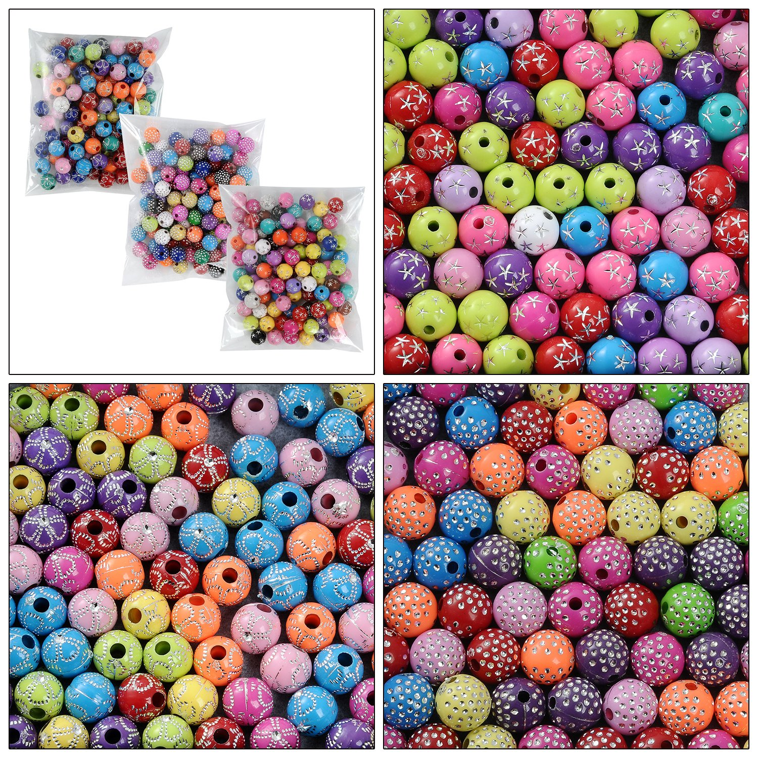 YUEAON 300pcs 8mm acrylic round beads ball loose bead for jewelry making diy bracelet necklace earring charms supplies , 3 bags-styles 4336812412