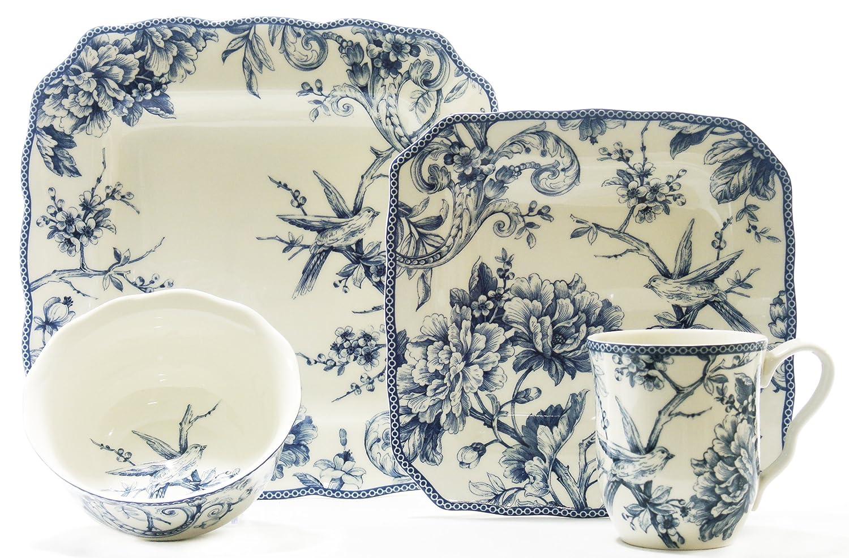 Amazon.com | Adelaide Blue 16pc Set: Dinnerware Sets: Dinnerware Sets