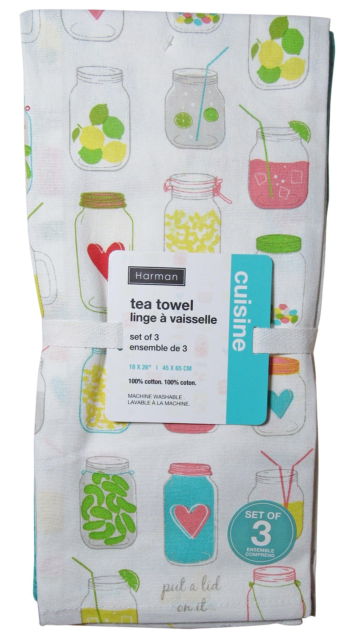 Harman Cotton Kitchen Tea Towels Set of 3-18x26 Fun Stylish Patterns (Put a Lid On It Mason Jars)