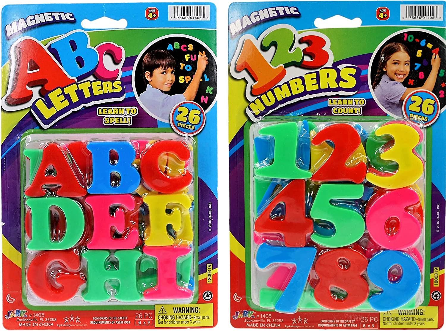 JA-RU ABC Magnetic Letters and Numbers Party Favor Bundle (2 Pack) Learning Letter Best Alphabet Magnet for Refrigerator Fun & Spelling Games Toys 1405-2p