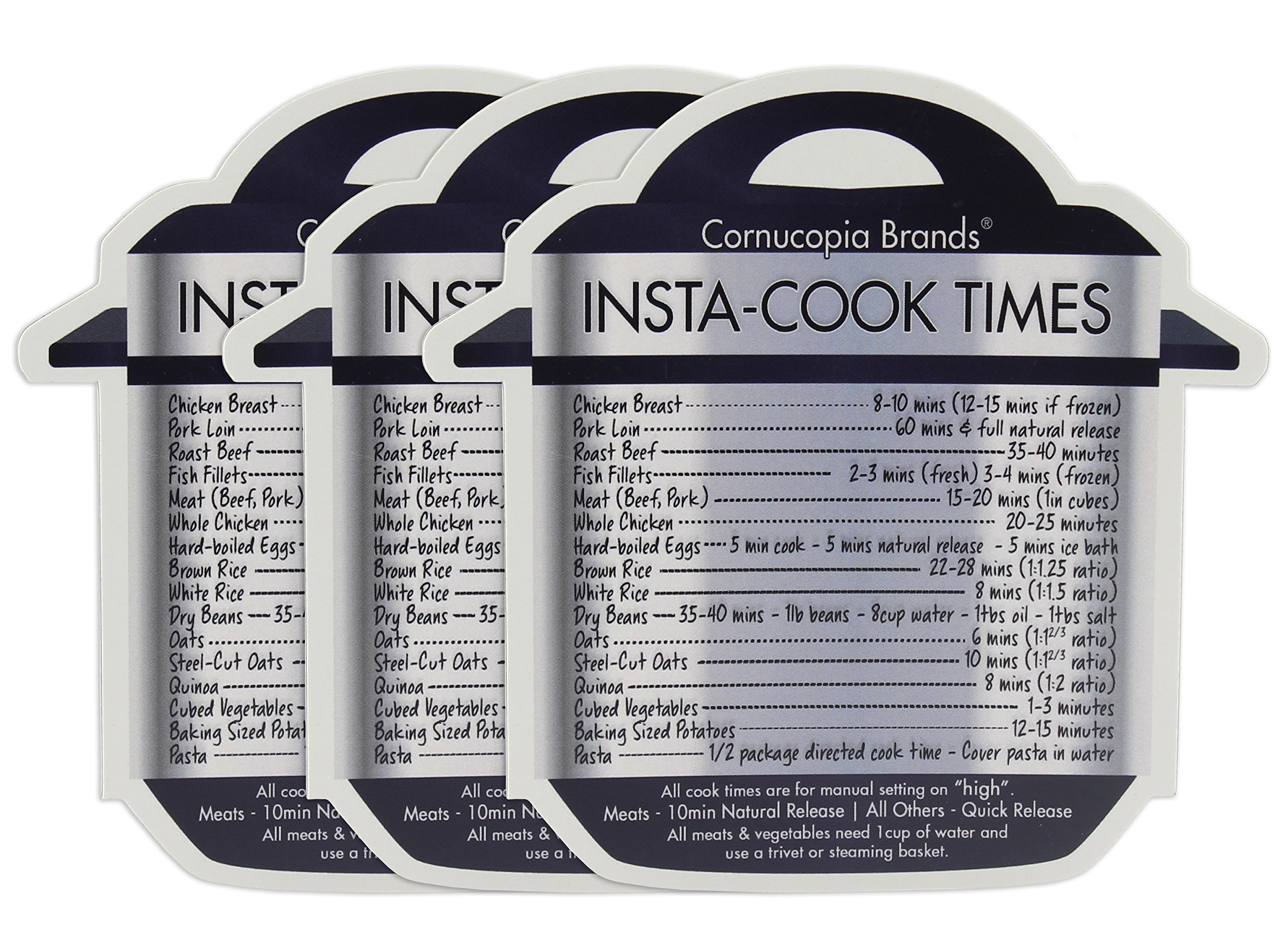 Instant Pot Cheat Sheet Magnets (3-Pack); Cooking Times for 16 Common Prep Functions by Cornucopia Brands