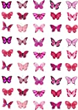 Cakeshop 45 x Pink Butterflies Edible Cake Toppers