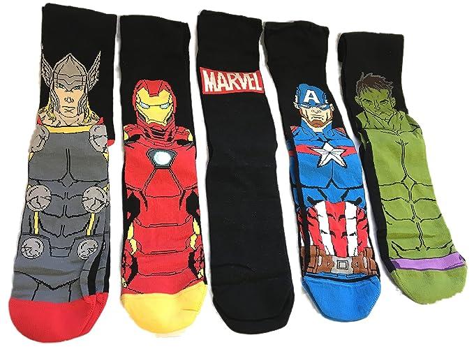 5 pares de calcetines con diseños de Comics de Marvel, Iron Man, Capitán América, Hulk y Thor multicolor: Amazon.es: Ropa y accesorios