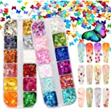Warmfits 3D Holigraphic Butterfly Nail Glitter 24 Colors/set Splarkly Nail Sequins Flake Acrylic Manicure Paillettes Ultrathin Face Body Glitters for Nail Art Decoration & DIY Crafting (Pattern A)