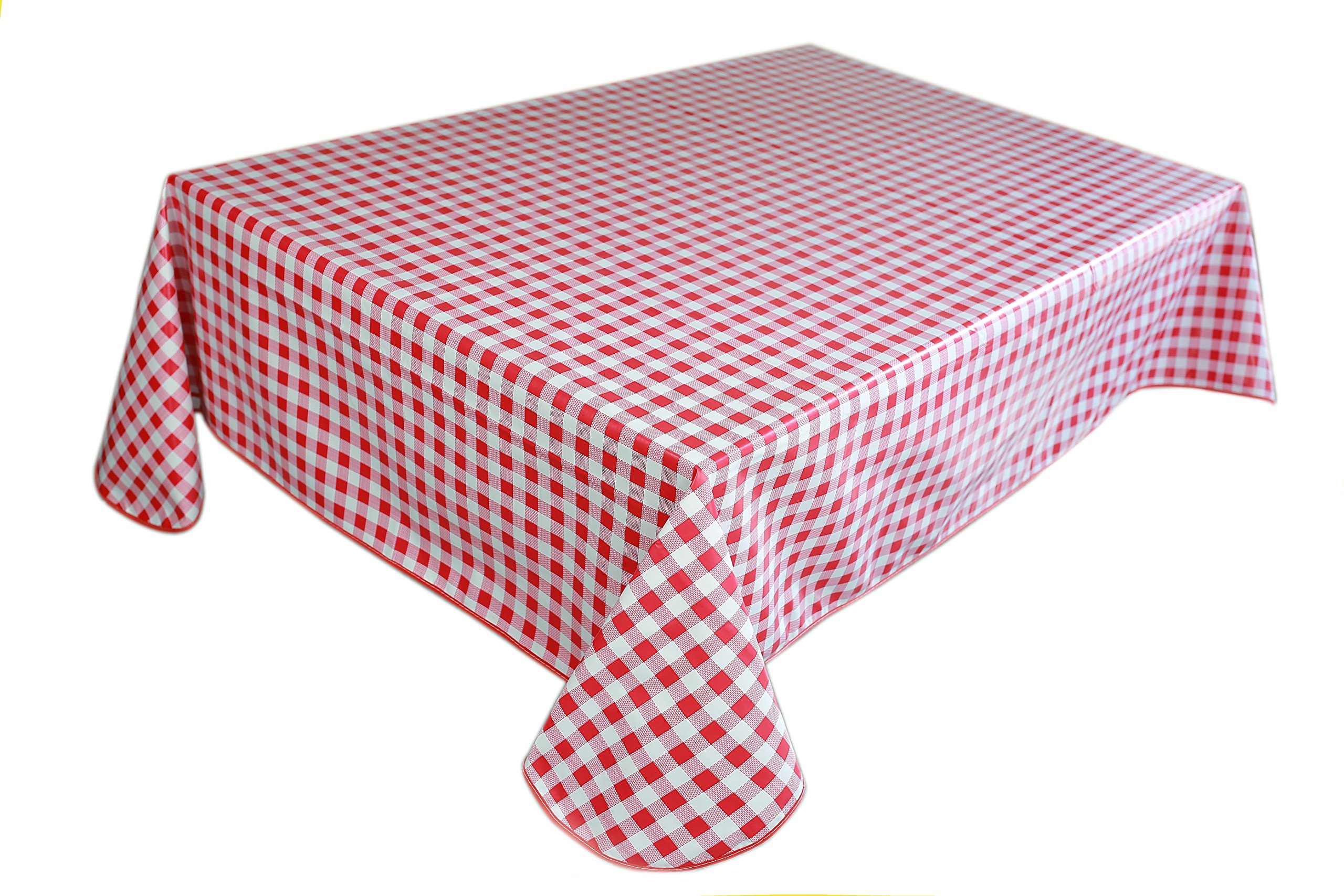 Lavin Tablecloth PVC Wipe Clean Checker Pattern Table Cloth Waterproof Edge Finished Oil Cloth Heavy Duty Vinyl Table Cover Rectangle Oilproof Satin-Resistant Home Decoration (Red)