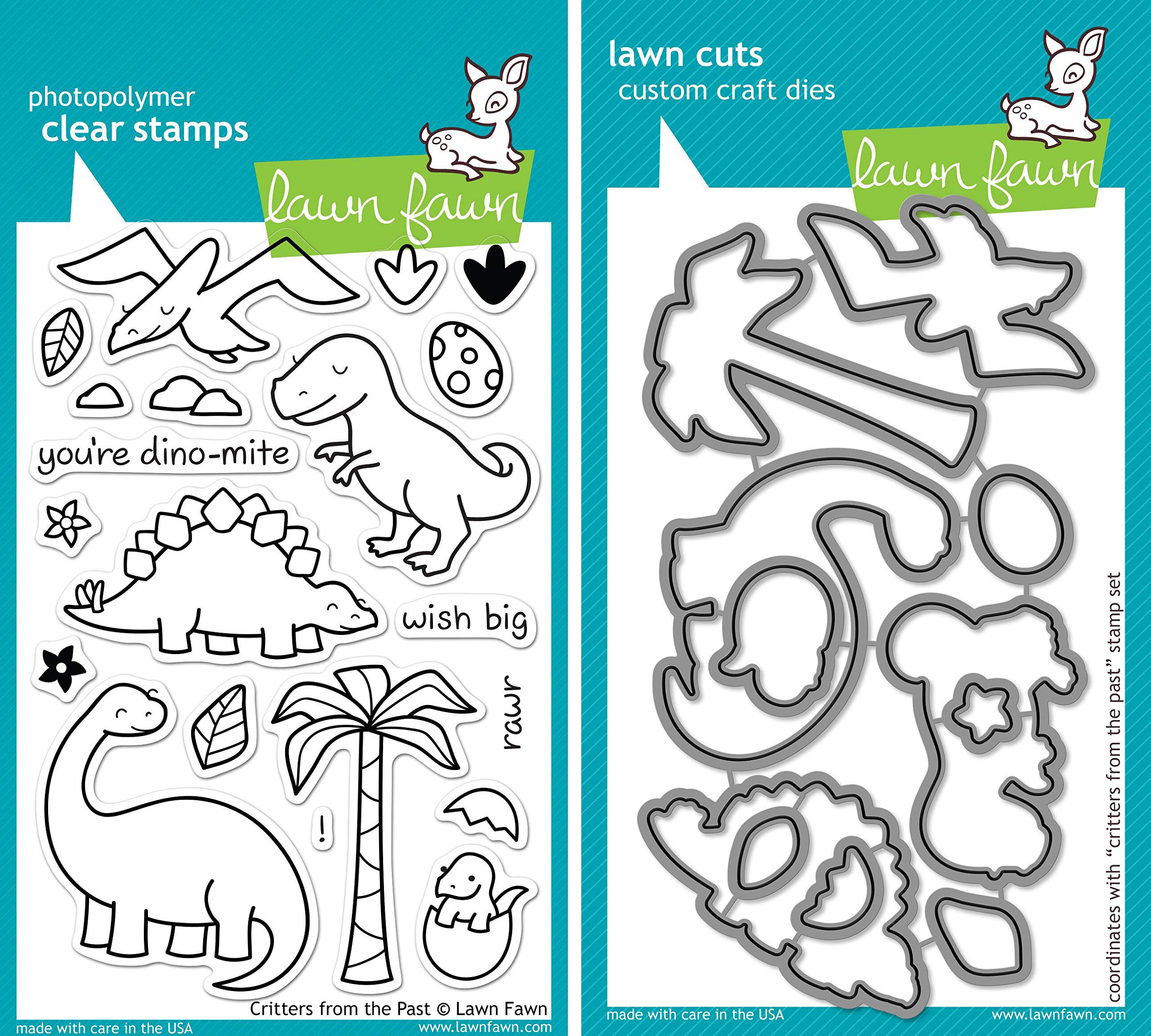 Lawn Fawn Critters From The Past Clear Stamp and Die Set - Includes One Each of LF602 (Stamp) & LF653 (Die) - Custom Set