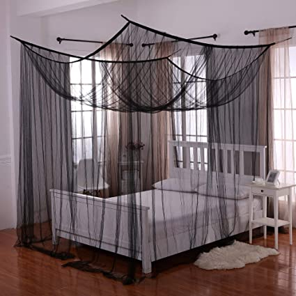 Canopy Bed.Heavenly 4 Post Bed Canopy Black