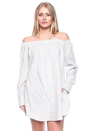 45bed97ca872b Rokoko Women s Off Shoulder Pin Striped Mini Dress W Side Pockets - Small -  Ivory