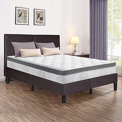 Amazon.com: Olee sleep 14-Inches Faux Leather Wood Slat Bed Frame ...