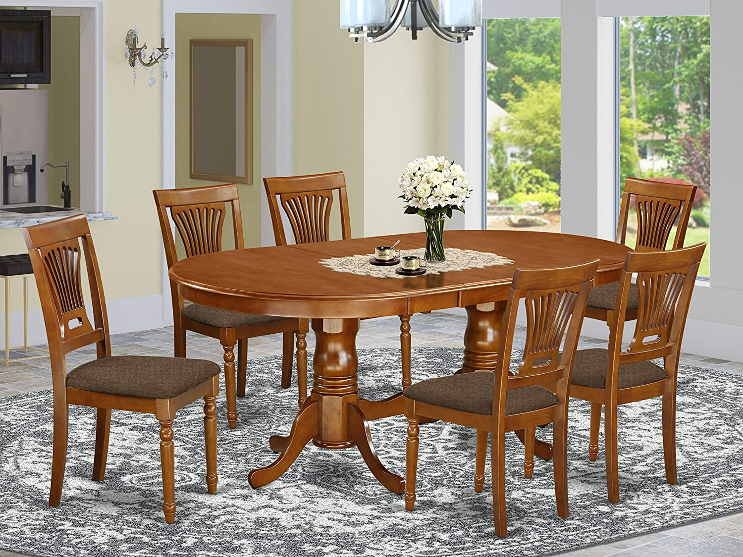 Amazon Com 7 Pc Dining Room Set For 6 Dining Table With 6 Dining Chairs Furniture Decor