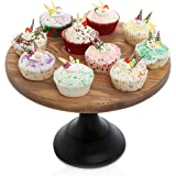 12 Inch Round Wooden Cake and Dessert Pedestal Display Stand with Black Base