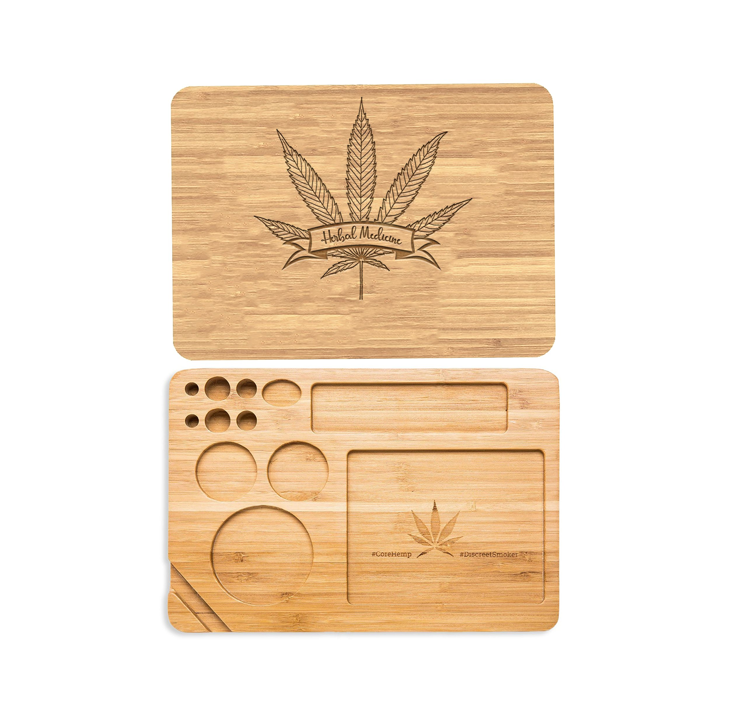 Laser Engraved Customized Personalized Bamboo Rolling Tray. Cut Out,for Rolling Tobacco Cigar Paper,Leaf,Medicinal Herb,Personalize The Back for Free- Herbal Medicine Leaf Design