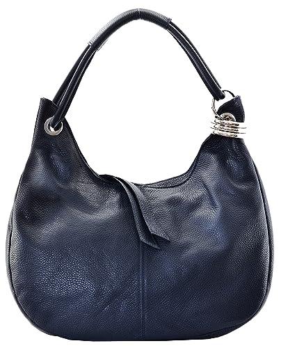 fd72058832 Cuir-Destock sac à main porté main et épaule cuir grainé modèle dakota bleu  fonce