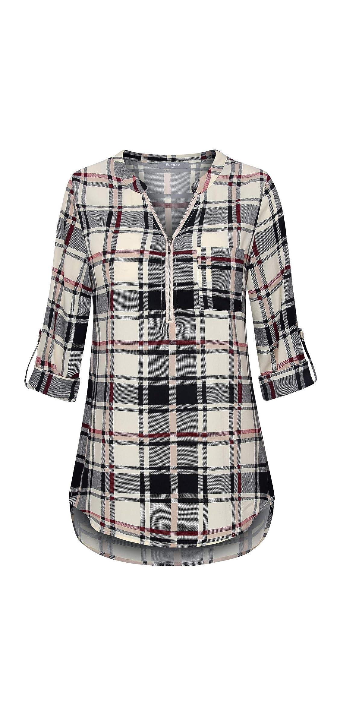 Women's V Neck Chiffon Blouse Half Zip Up Casual Tunic