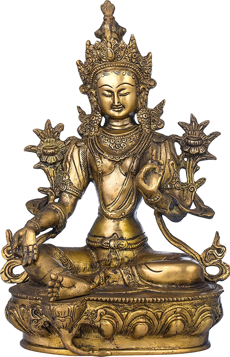 Exotic India Green Tara (Tibetan Buddhist Deity) - Brass Statue - Color Natural Brass Color